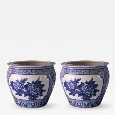 Pair of Blue and White Large Chinese Pots