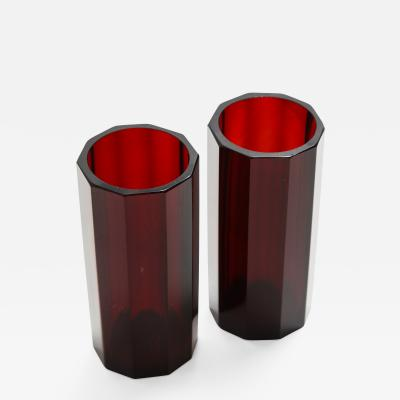 Pair of Bohemian Faceted Ruby Glass Vases circa 1930s