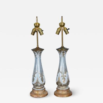Pair of Bohemian Glass and Gilt Lamps