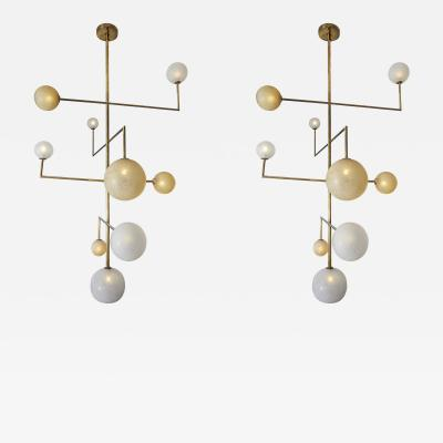 Pair of Brass Angular Chandeliers with Glass Globes