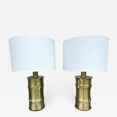 Pair of Brass Bamboo Lamps Italy 1970s