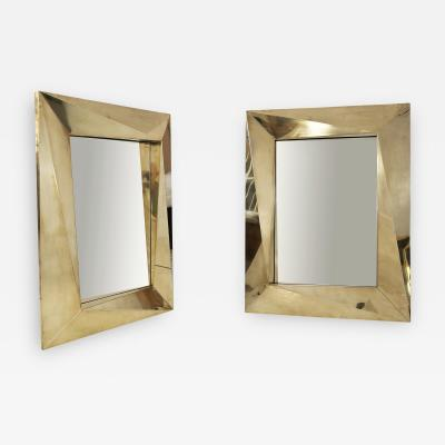 Pair of Brass Brutalist Wall Mirrors circa 2000 Italy