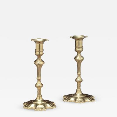 Pair of Brass Candlesticks with Shell Bases