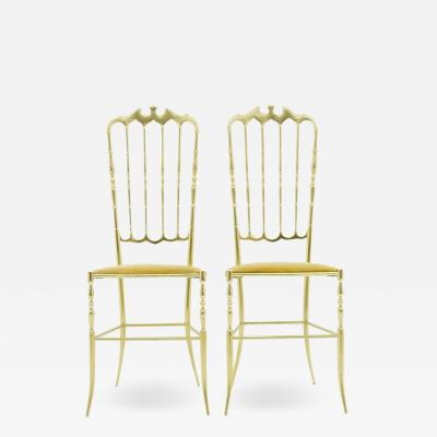 Pair of Brass Chairs by Chiavari Italy 1960s