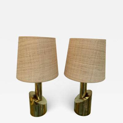 Pair of Brass Half Cylinder Lamps Italy 1970s