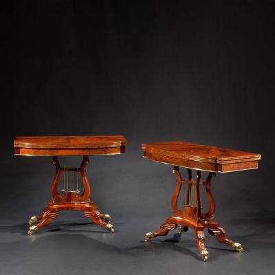 Pair of Brass Inlaid Carved Mahogany Games Tables