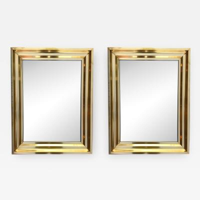 Pair of Brass Mirrors 1970s France