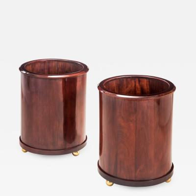 Pair of Brass Mounted Mahogany Jardinieres Containers