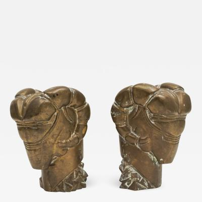 Pair of Brass Ramsheads