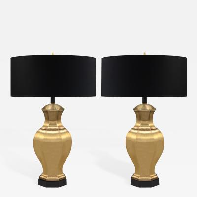 Pair of Brass Table Lamps with Ebony Bases
