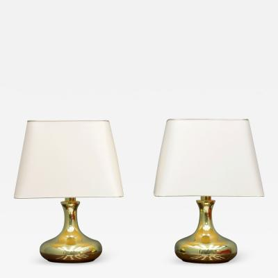 Pair of Brass Tulip Table Lamps 1970s