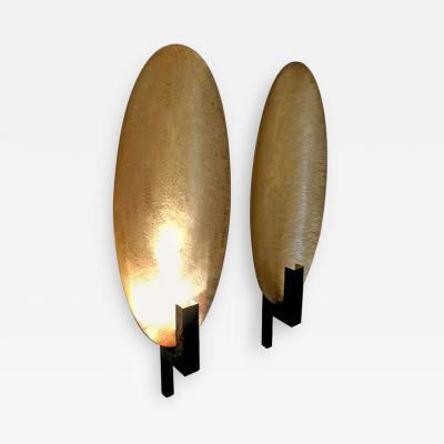 Pair of Brass and Black Painted Metal Ovale Sconces