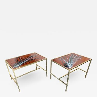 Pair of Brass and Ceramic Side Table Italy 1970s