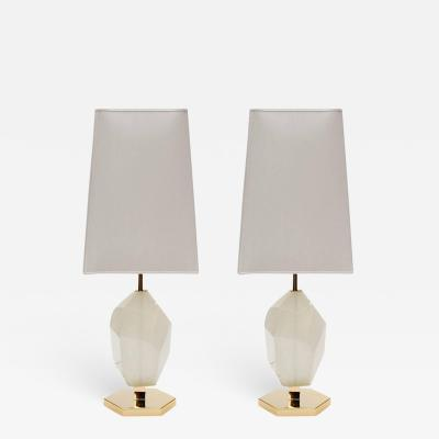Pair of Brass and Diamond Cut Resin Table Lamps