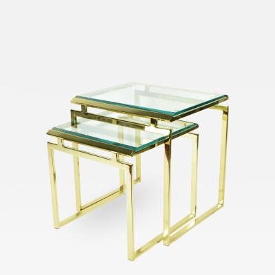 Pair of Brass and Glass Modernist Nesting Tables