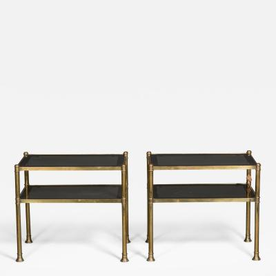 Pair of Brass and Glass Two Tiered Side Tables