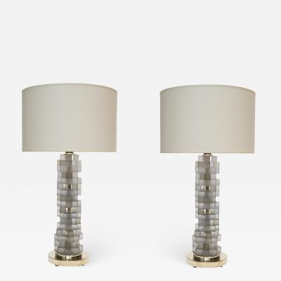 Pair of Brass and Grey Frosted Glass Table Lamps
