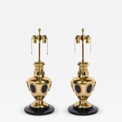 Pair of Brass and Horn Table Lamps