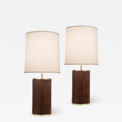 Pair of Brass and Mahogany Cylindrical Lamps
