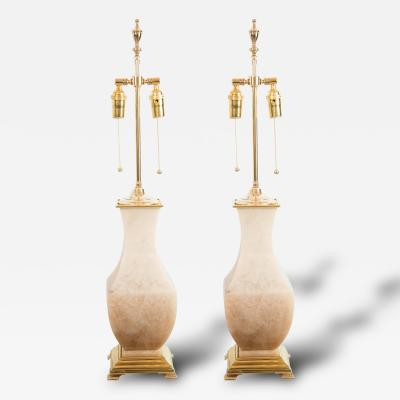 Pair of Brass and Onyx Table Lamps