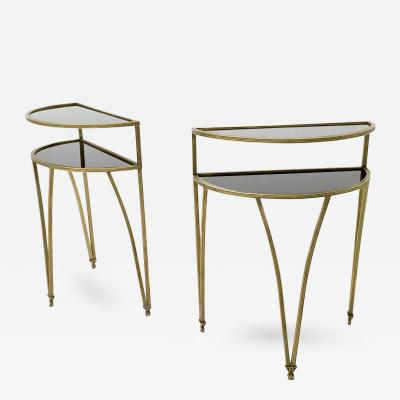 Pair of Brass and Opaline Glass Night Stands Little Console Tables Italy 1950s