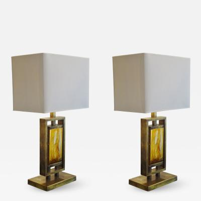 Pair of Brass and Resin Table Lamps Italy 1970s