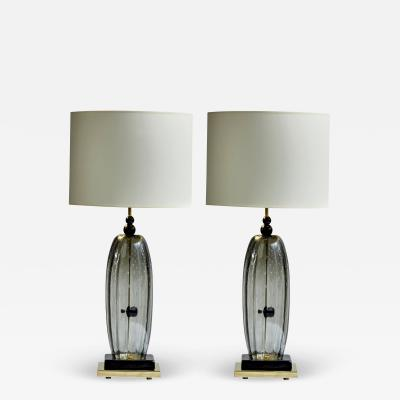 Pair of Brass and Smoked Murano glass Table Lamps