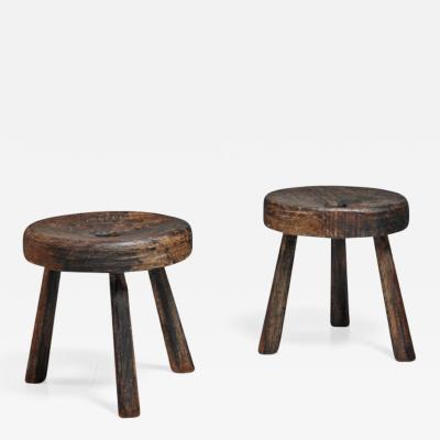 Pair of Brazian folk art stools 19th century
