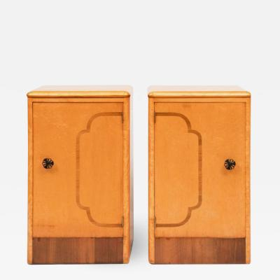 Pair of British Art Deco Maple Bedside Cabinets c 1930