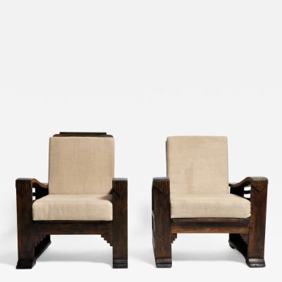Pair of British Colonial Art Deco Chair