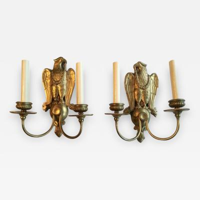 Pair of Bronze Caldwell Eagle Sconces