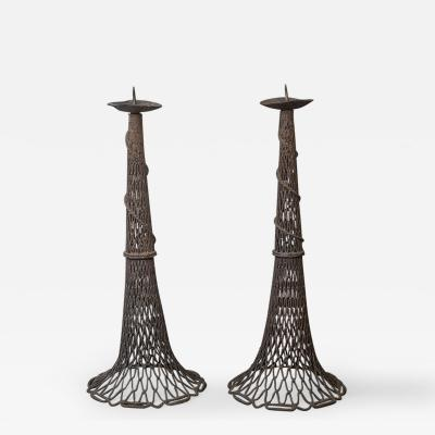 Pair of Bronze Fishnet Candlesticks
