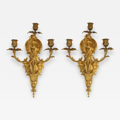 Pair of Bronze Gilt French Sconces Late 19th Century