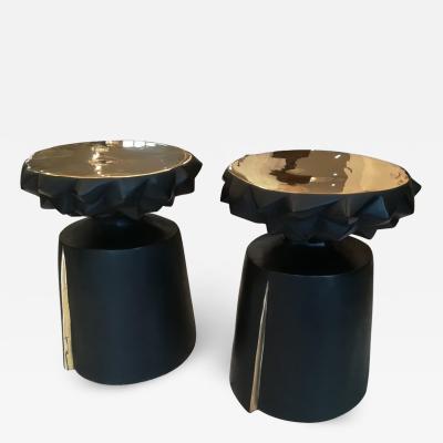 Pair of Bronze Gueridon Black Patina Top Natural Bronze