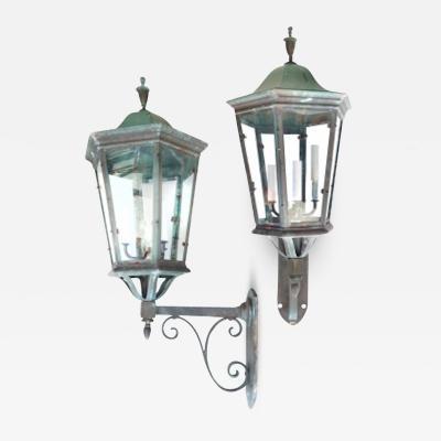 Pair of Bronze Lanterns Sconces
