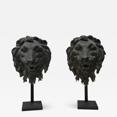 Pair of Bronze Lion Masks