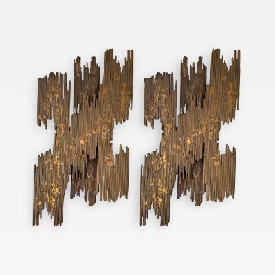 Pair of Bronze Sconces Brutalist Sculpture France 1970s