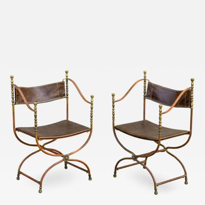 Pair of Bronze and Steel Campaign Chairs