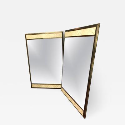 Pair of Bronze and Travertine Mirrors
