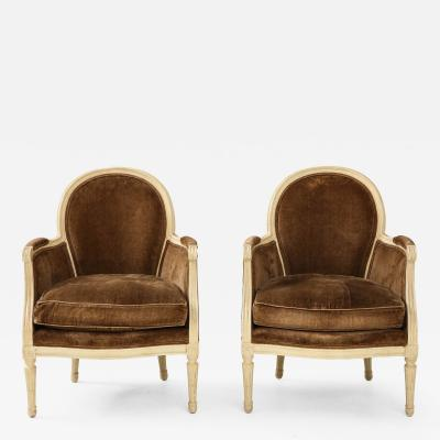Pair of Brown Louis XVI Style Berg res