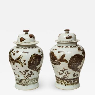 Pair of Brown and White Ginger Jars