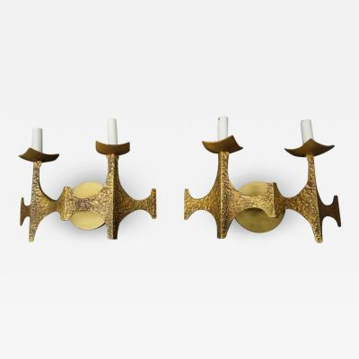 Pair of Brutalist Brass Sconces by Moe Bridges Mid Century Modern
