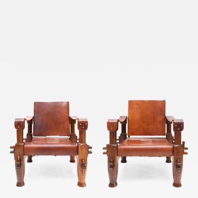 Pair of Brutalist Safari Chairs