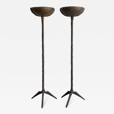 Pair of Brutalist Solid Bronze Torchiere Floor Lamps