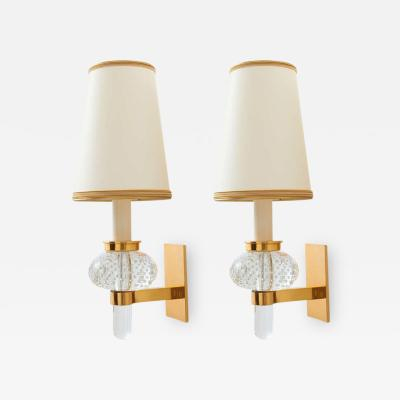 Pair of Bubble Glass Sconces Italy 1950s