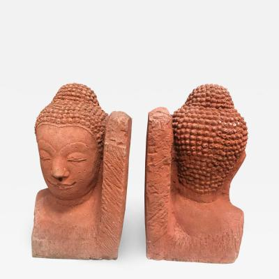 Pair of Buddha Heads Terracota Bookends