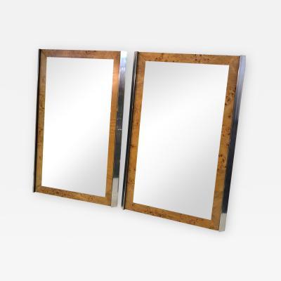 Pair of Burlwood and Chrome Modern Mirrors