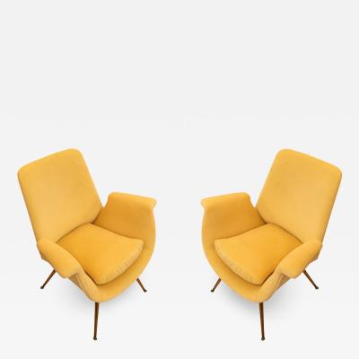 Pair of Canary Velvet Armchairs Italy 1960s