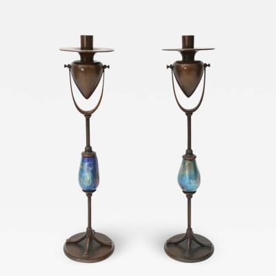 Pair of Candlesticks Louis C Tiffany Furnaces Inc Bronze and Favrile Glass