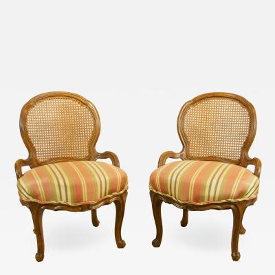 Pair of Caned Slipper Chairs